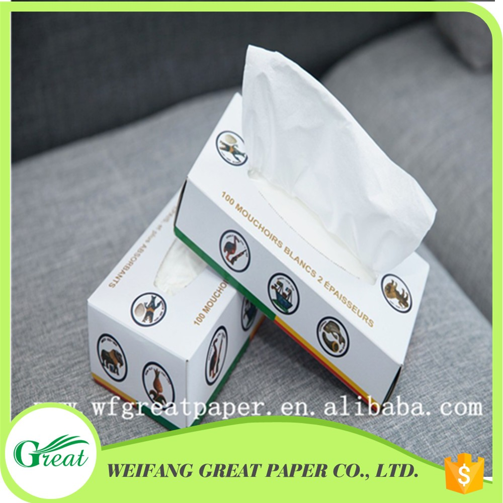 Small box pack vingin wood pulp soft facial paper tissue for office