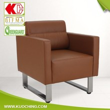 Customized Modern Stainless Steel Lumbar Support Genuine Leather Sofa/Hotel Sofa/Small Office Sofa