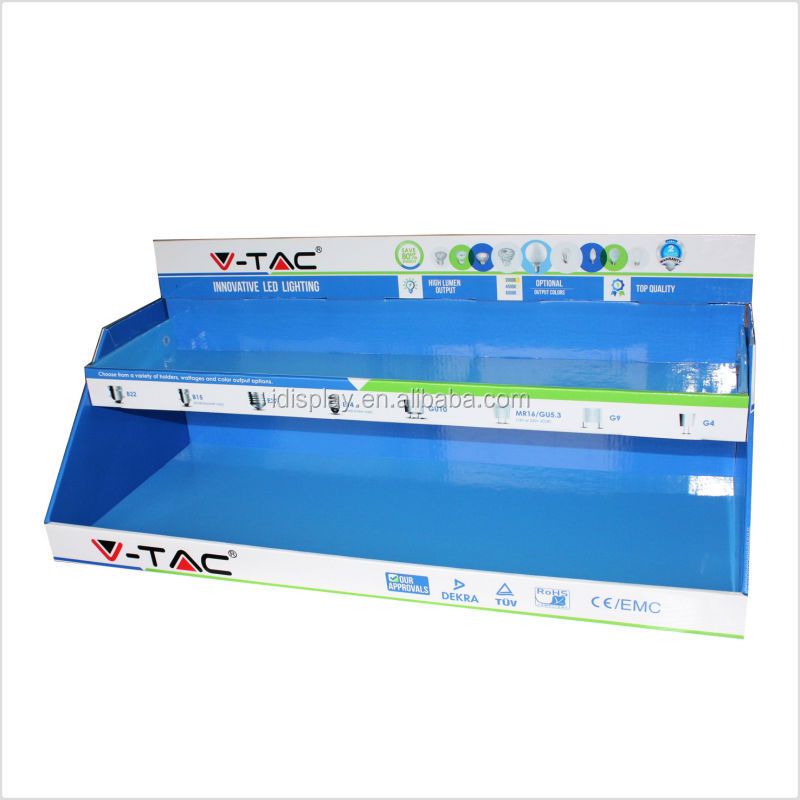 2 tiers counter display tray/cardboard counter display stand for LED Bulbs in supermarket/lighting distributor