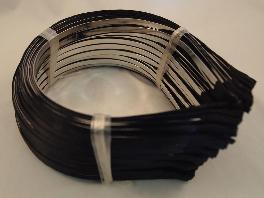 Headbands Metal with Black Ribbon Glued On 5mm