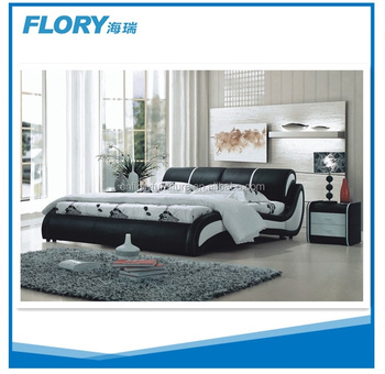 Black and white color pu leather &bonded leather &Pvc leather beds