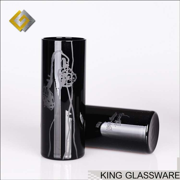 Handmade OEM black color engraved frosted glass chinese long tube highball drinking tumbler glass wholesale