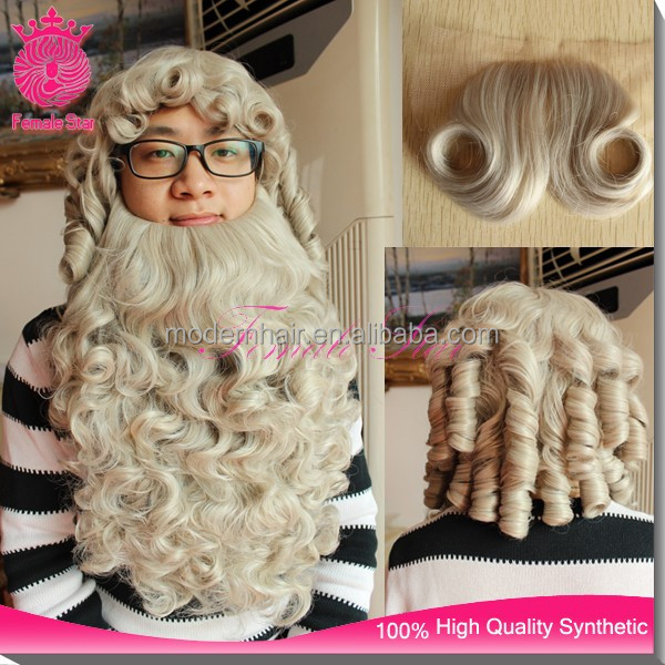 Custom high quality christmas santa claus wig hair in synthetic wigs