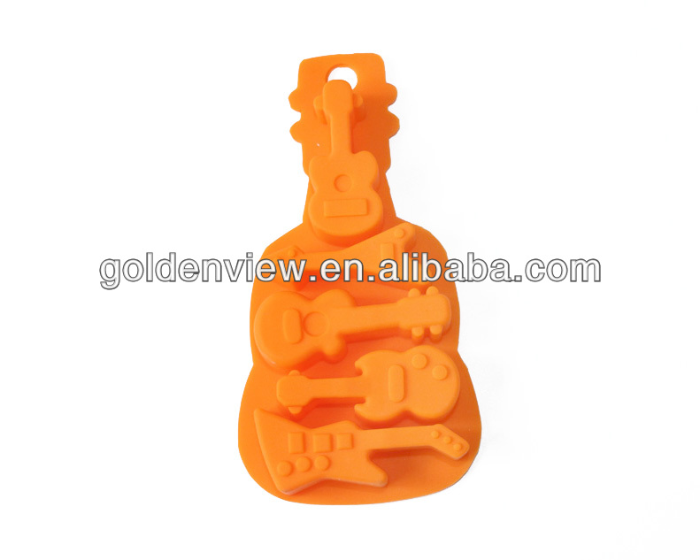 Bass guitar musical instrument shaped silicone chocolate candy toffee bonbon jelly cake mold mould ice freezer tray for kids
