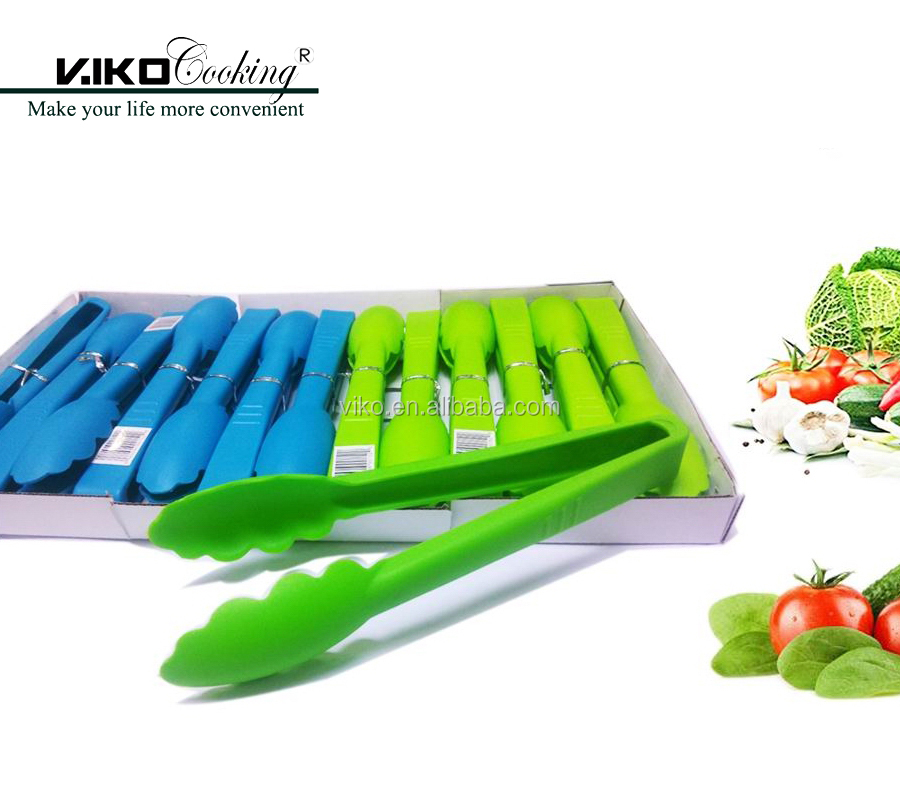 Colorful plastic salad tongs food tongs kitchen tongs