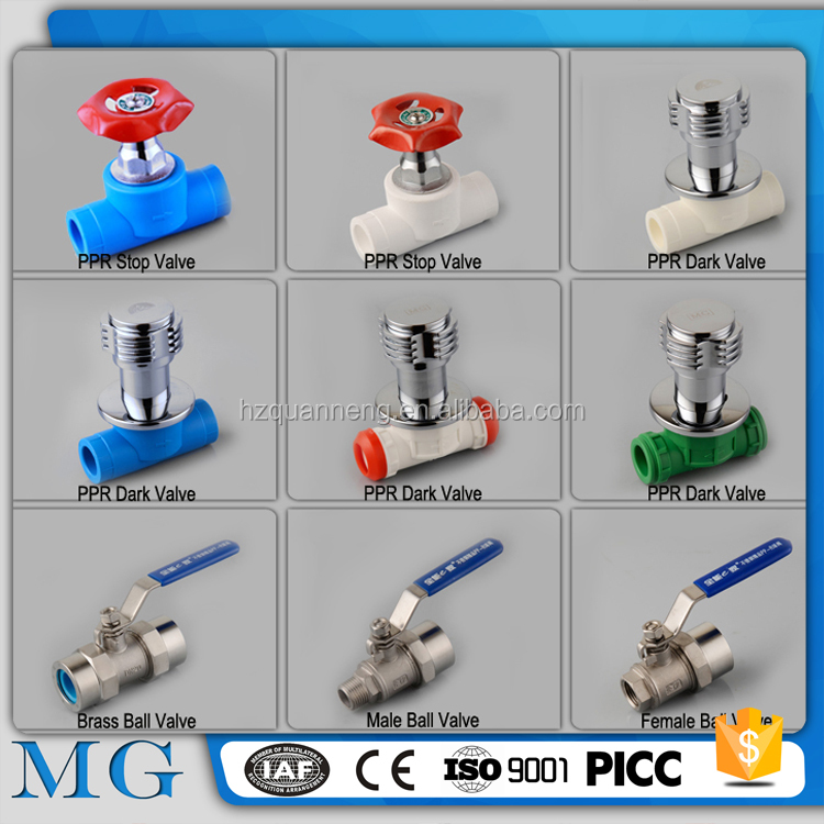 MG 1/2 ,3/4 ,1 inch cheap plastic ppr brass ball valve for hot and cold water brass ppr stop gate valve pvc valve factory