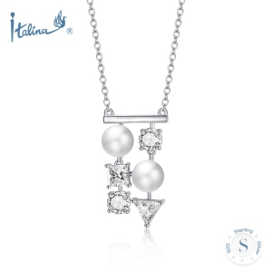 Fashion Jewelry 925 Sterling Silver Geometric CZ Pendant Pearl Zirconia Necklace Chain for Women Rhodium Gold Rose Gold Plated