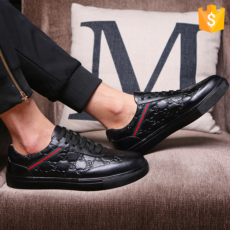 Guangzhou factory wholesale new design genuine cow skin shoes men leather man casual shoe