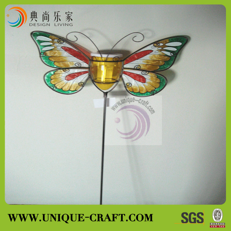 2015 cheap price metal butterfly stick garden solar light