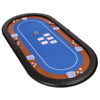 72 inch Oval Folding Poker Table Top in Blue Speed Cloth