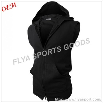 Mens Various Solid Colors Casual Slim Fit Cotton Sleeveless Zip up Hoodies