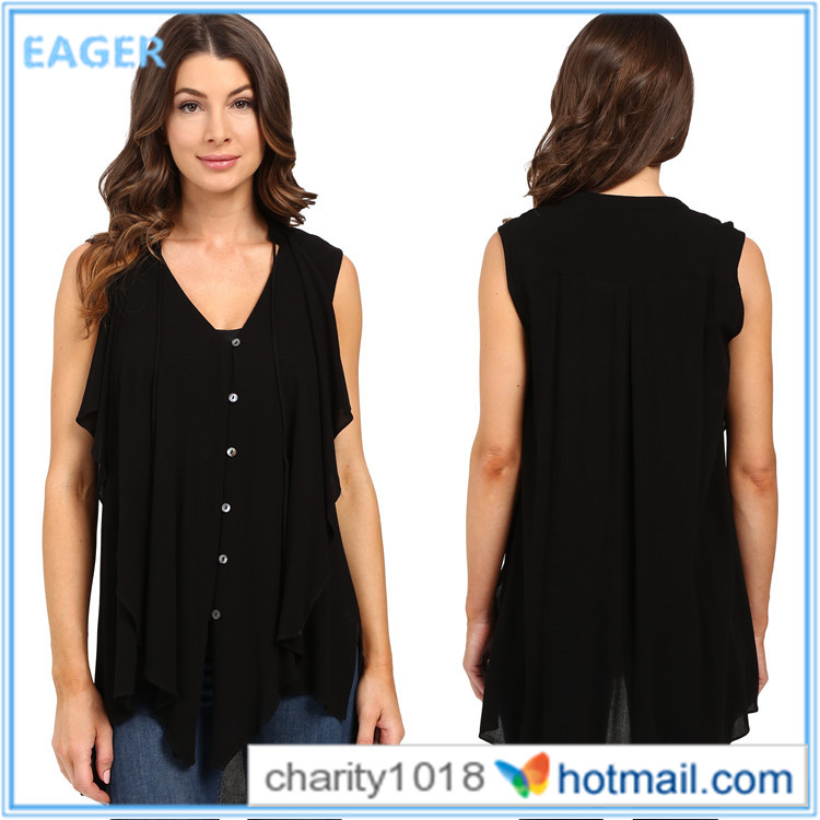 2016 New arrival lady fashion blouse latest fashion cutting blouse design