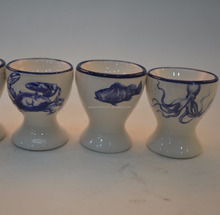 Marine series of embossed 3D hand-painted ceramic egg cup