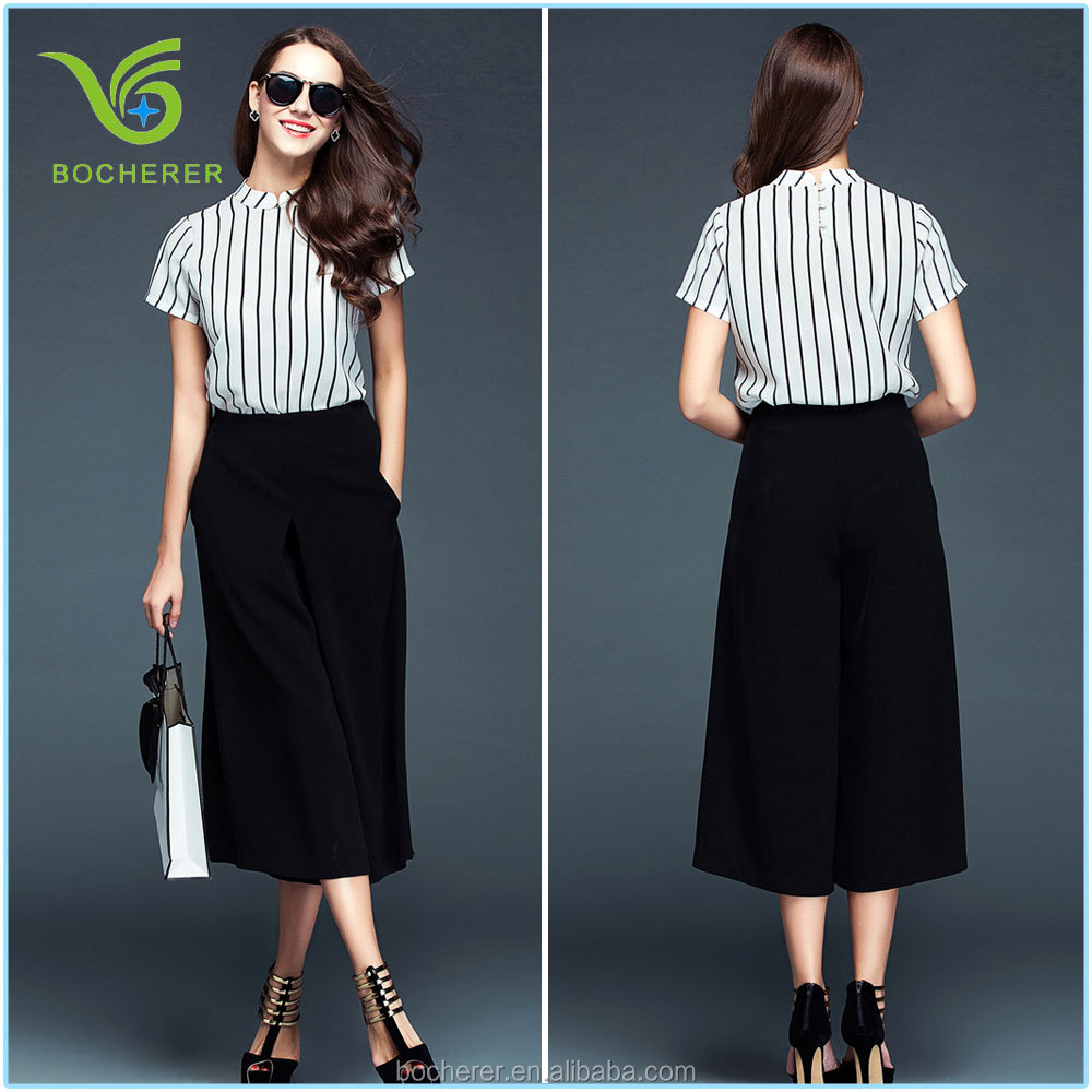 2016 Latest stripe lady simple suits for office lady with black long skirt