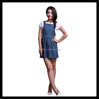 Women's Dots Pattern Denim Overalls Dress