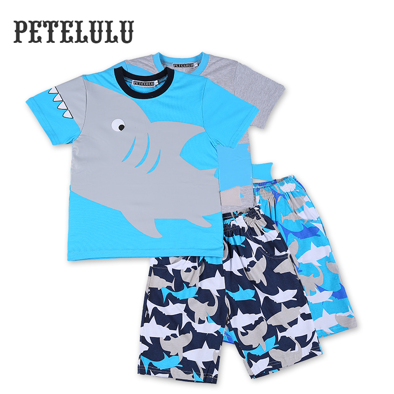 Kids Clothing Summer Wear 2016 Shark Christmas Pajamas For 2-10 Years Boys