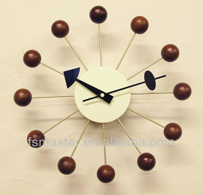 Home decor furniture wooden balls wall mounted clock, modern quartz wall clock