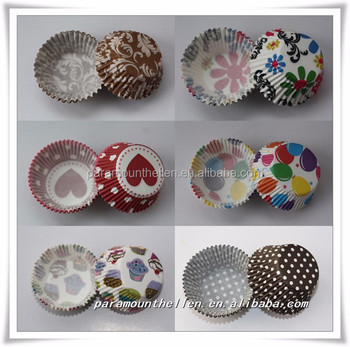 Round Container With Cake Printed paper baking cup tray