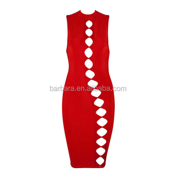 2016 New fashion design red color hollow out mini sleeveless bandage dress