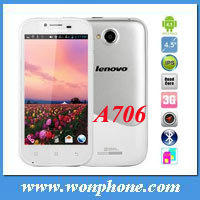Lenovo A706 phone 4.5 inch capacitive screen Quad core Android 5MP Camera 3G smartphone support Multi-languages