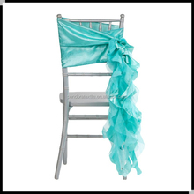 Tiffany Blue Ruffle wedding chair sashes,curly willow chair sashes