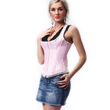 Women's Jacquard Shoulder Straps Tank Overbust Corset Bustiers open hot sexy movies with pink