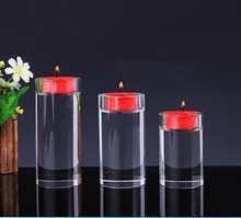 Modern crystal round candlestick glass tealight candle holder for hotel and home bar decoration ornament