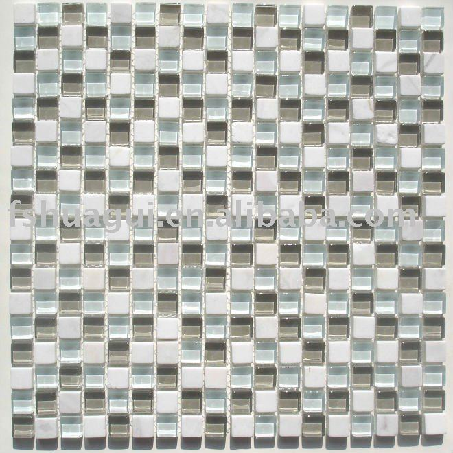 Green crystal glass mix white stone mural mosaic tile