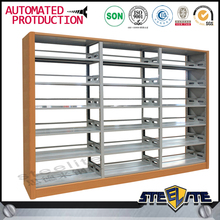 Steel wooden school library bookshelf metal book shelf display book rack wrought iron bookshelves for sale