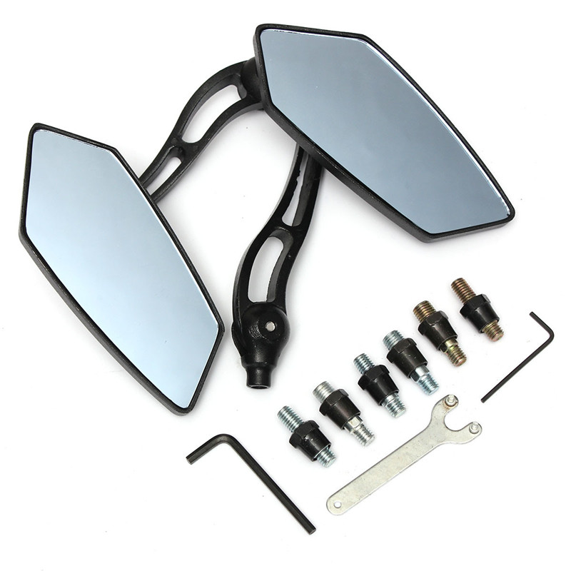 1 Pair 360 Degree Universal Alloy Aluminium Black 8/10mm Motorcycle Motobike Motor Scooter Rear View Mirrors