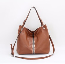 China wholesale PU leather designer shoulder bag women brown handbag