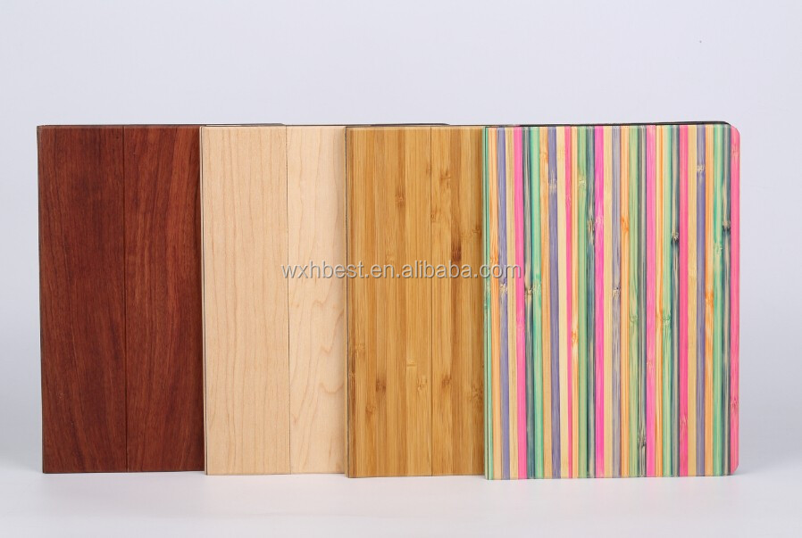 New Products Flip Leather Case Wood Bamboo Cover case for iPad Air 2 With Stand Design Made in China Factory