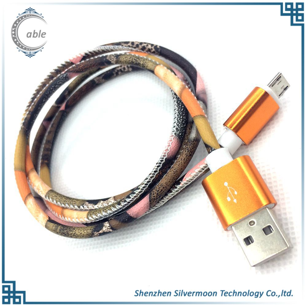 Customized logo round callphone usb cable