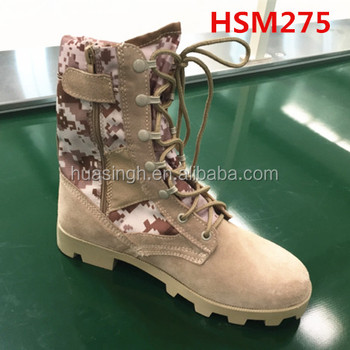 sandy resistant Panama sole desert camouflage army boots with side zipper