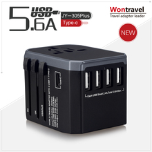 Fashion portable world universal travel adapter with four usb and type-c plug socket universal smart USB charger for electric