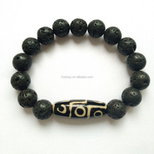 Custom Made DIY Natural Stone Lava 9 Eye Dzi Beads Good Luck Fashion Jewelry Fashion Mens Bracelets