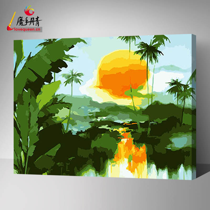 Sun scenery paint by numbers modern oil painting