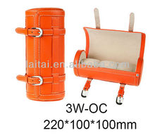 3 watches Luxury orange leather Small Round Wooden Boxes