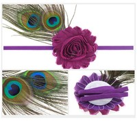 2016 fashion lovely infant baby peacock feather headbands with fabric flower accessories LP118