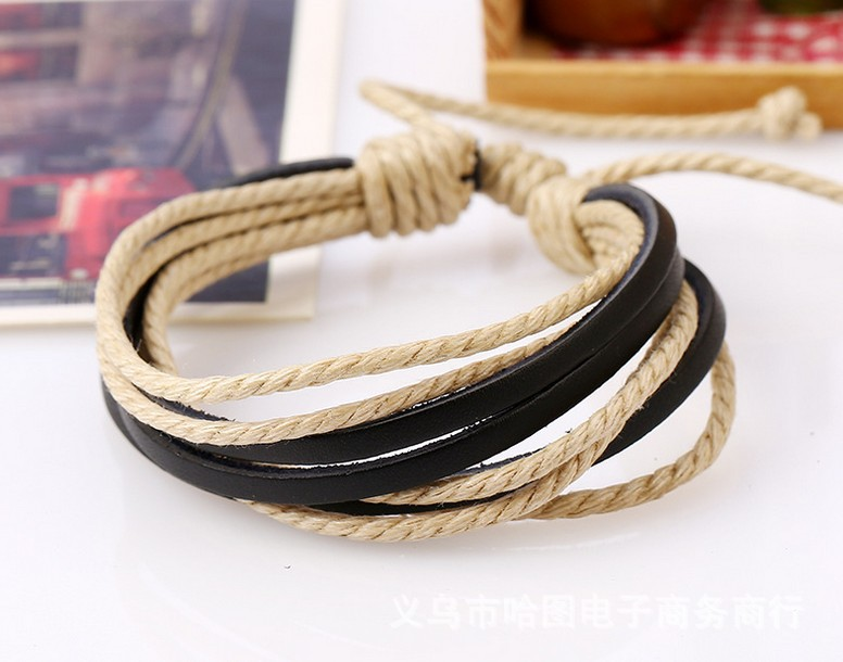 Fashion bracelet men handmade rope bracelet wholesales Classic Customize Mens Black Braided leather bracelets