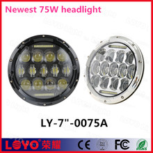 "DOT E-mark approved 7"" 75w 7 inch round led headlight for jeep"