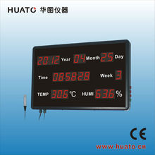 1.8 inch led display wall clock with thermometer and hygrometer HE218B