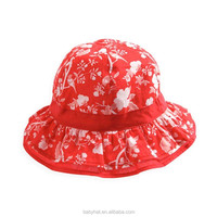 New Baby Girls Little Sun Flower Spot Hat Baby Childen Cotton Bucket Cap Red Color