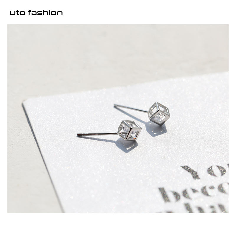 E01552 luxury 925 sterling silver cubic zircon ear stud earring jewelry gifts