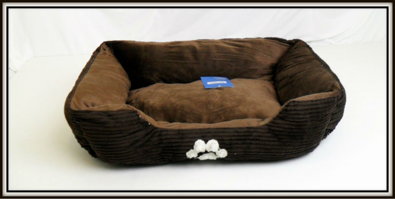 "PET SUPPLY - DOG BED , 28"" INCH COFFEE PAW PRINT PET BED DOGS"