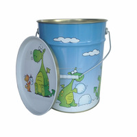 high quality food grade large round toy bucket with lid, safe metal bucket for kids