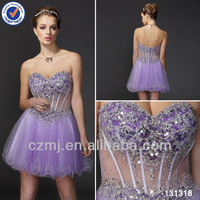 2014 latest see- through fish bone sweat heart beaded sequin short cocktail dresses