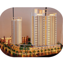 Building model with architecture model LED lighting for famous building miniature