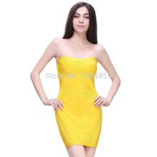 Sexy Casual Tube sexy bodycon slim waist knitted bandage dress yellow socialite bandage dress 2015 bandage dress vestido floral