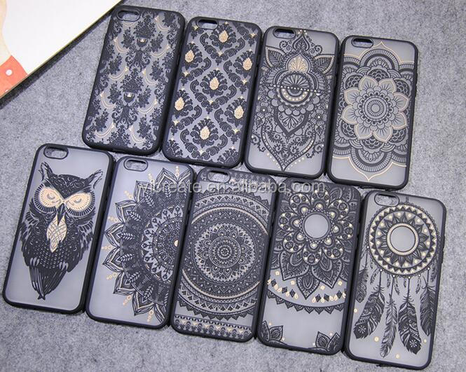 Vintage Black Flower Pattern PC Plastic Hard Case Cover For IPhone 5 6 7 Plus